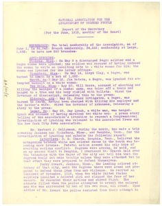 Thumbnail of National Association for the Advancement of Colored People Report of the             secretary for the June 1919 meeting of the Board.