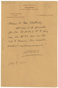 Thumbnail of Memo from W. E. B. Du Bois to John R. Shillady