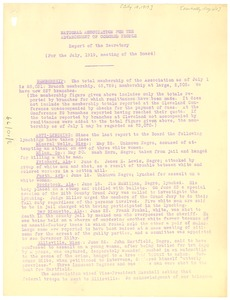 Thumbnail of National Association for the Advancement of Colored People Report of the             secretary for the July 1919 meeting of the Board.
