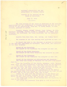 Thumbnail of National Association for the Advancement of Colored People minutes of the             meeting of the board of directors, July 11, 1919.