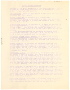 Thumbnail of National Association for the Advancement of Colored People Report of the             secretary for the October 1919 meeting of the Board.
