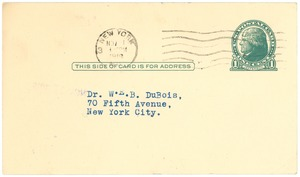 Thumbnail of Postcard from National Association for the Advancement of Colored People to W. E. B. Du Bois
