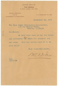 Thumbnail of Letter from W. E. B. Du Bois to the Newspaper Enterprise Association