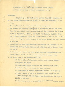 Thumbnail of Memorandum from W. E. B. Du Bois to M. Diagne and others on a pan-african             congress to be held in Paris in February, 1919
