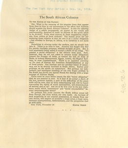 Thumbnail of Letter to the editor of the New York City Nation from unidentified correspondent