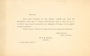 Thumbnail of Circular letter from Pan African Congress to unidentified correspondent