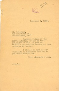 Thumbnail of Letter from W. E. B. Du Bois to Lt. Peterson