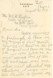 Thumbnail of Letter from E. C. Rogers to W. E. B. Du Bois