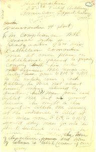 Thumbnail of Memorandum from headquarters, 350th Field Artillery