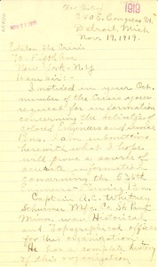 Thumbnail of Letter from E. Holsey Waller to the editor of The Crisis