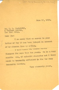 Thumbnail of Letter from W. E. B. Du Bois to War Camp Community Service