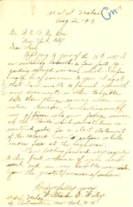 Thumbnail of Letter from Willam D. Wiley to W. E. B. Du Bois