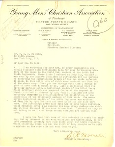 Thumbnail of Letter from Young Men's Christian Association to W. E. B. Du Bois