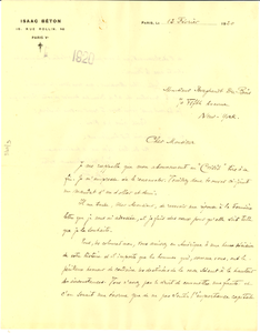Letter from Isaac Beton to W. E. B. Du Bois