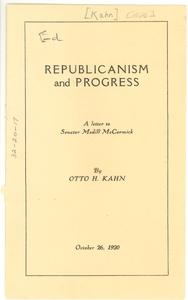 Republicanism and progress a letter to Senator Medill McCormick