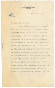 Thumbnail of Letter from Jane Addams to W.E.B. Du Bois