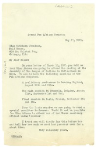 Thumbnail of Letter from W.E.B. Du Bois to Jane Addams