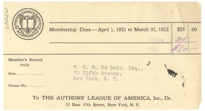 Thumbnail of Invoice for membership dues -- April 1, 1921 to March 31, 1922