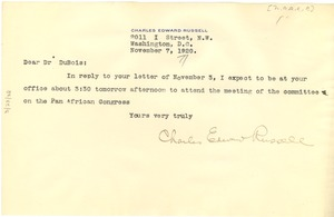 Thumbnail of Letter from Charles E. Russell  to W.E.B. Du Bois