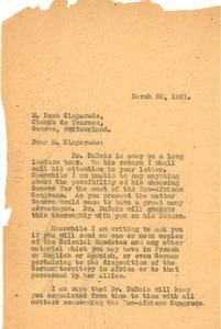 Thumbnail of Letter from Jessie Fauset to Rene Claparede