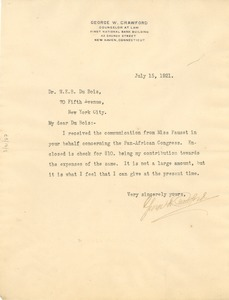 Thumbnail of Letter from George W. Crawford to W. E. B. Du Bois