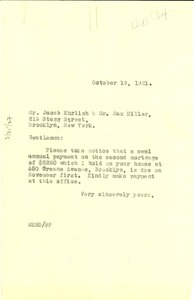 Thumbnail of Letter from W. E. B. Du Bois to Jacob Ehrlich