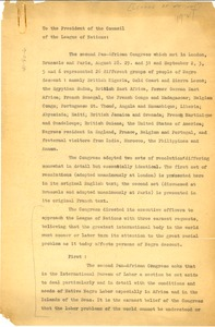 Thumbnail of Letter from Pan-African Congress to League of Nations