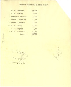 Thumbnail of Amounts collected by Miss Fauset