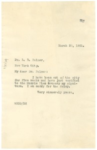 Thumbnail of Letter from W.E.B. Du Bois to Loring B. Palmer