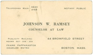 Thumbnail of Business card for Johnson W. Ramsey