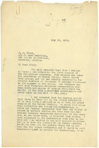 Thumbnail of Letter from W. E. B. Du Bois to M. A. Vinck