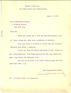 Thumbnail of Letter from Donald S. Dade to W. E. B. Du Bois