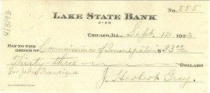 Thumbnail of Check from J. Herbert Gray to Commissioner of Immigration