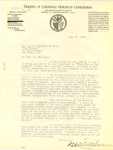 Thumbnail of Letter from Knights of Columbus Historical Commission to W. E. B. Du Bois