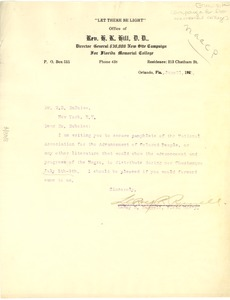 Thumbnail of Letter from New Site Campaign for Florida Memorial College to W. E. B. Du Bois