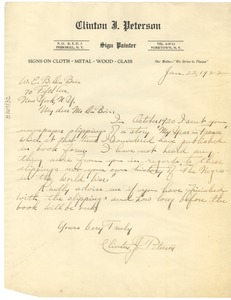 Thumbnail of Letter from Clinton J. Peterson to W. E. B. Du Bois