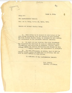 Thumbnail of Letter from United States Army Quartermaster General to Ada M. Young
