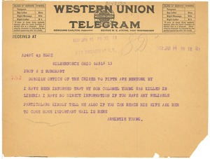 Thumbnail of Telegram from Armintie Young to W. E. B. Du Bois