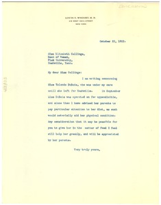 Thumbnail of Letter from Louis T. Wright  to Elizabeth Callinge