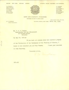 Thumbnail of Letter from Ginn and Company  to W. E. B. Du Bois