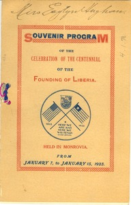 Thumbnail of Souvenir program of the celebration of the centennial of the founding of Liberia