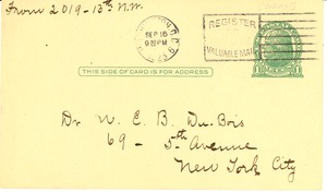 Thumbnail of Letter from G. A. Gorris to W. E. B. Du Bois