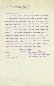 Thumbnail of Letter from Herald of the Star to W. E. B. Du Bois
