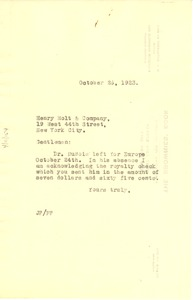 Thumbnail of Letter from Jessis Fauset to Henry Holt and Company