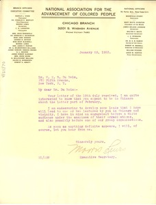 Thumbnail of Letter from  Morris Lewis  to W. E. B. Du Bois