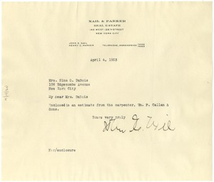 Thumbnail of Letter from Nail & Parker Real Estate to Nina Du Bois