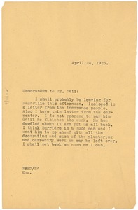Thumbnail of Memorandum from W. E. B. Du Bois to John E. Nail