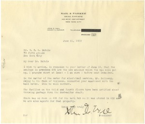 Thumbnail of Letter from Nail & Parker Real Estate to W. E. B. Du Bois