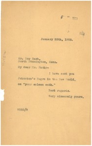 Thumbnail of Letter from W. E. B. Du Bois to Roy Nash