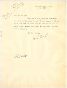 Thumbnail of Letter from Roy Nash to W. E. B. Du Bois